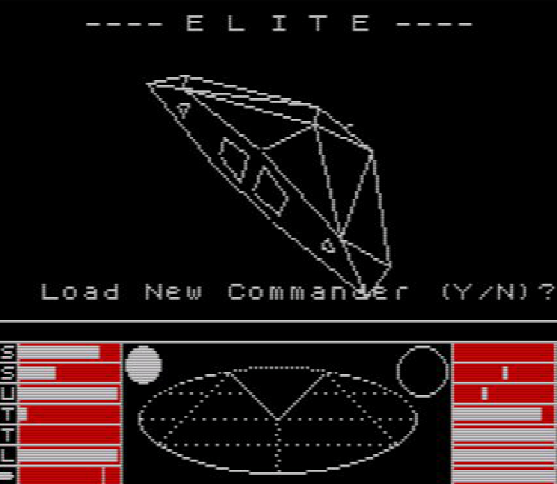 The main screen to Elite on the ZX Spectrum.