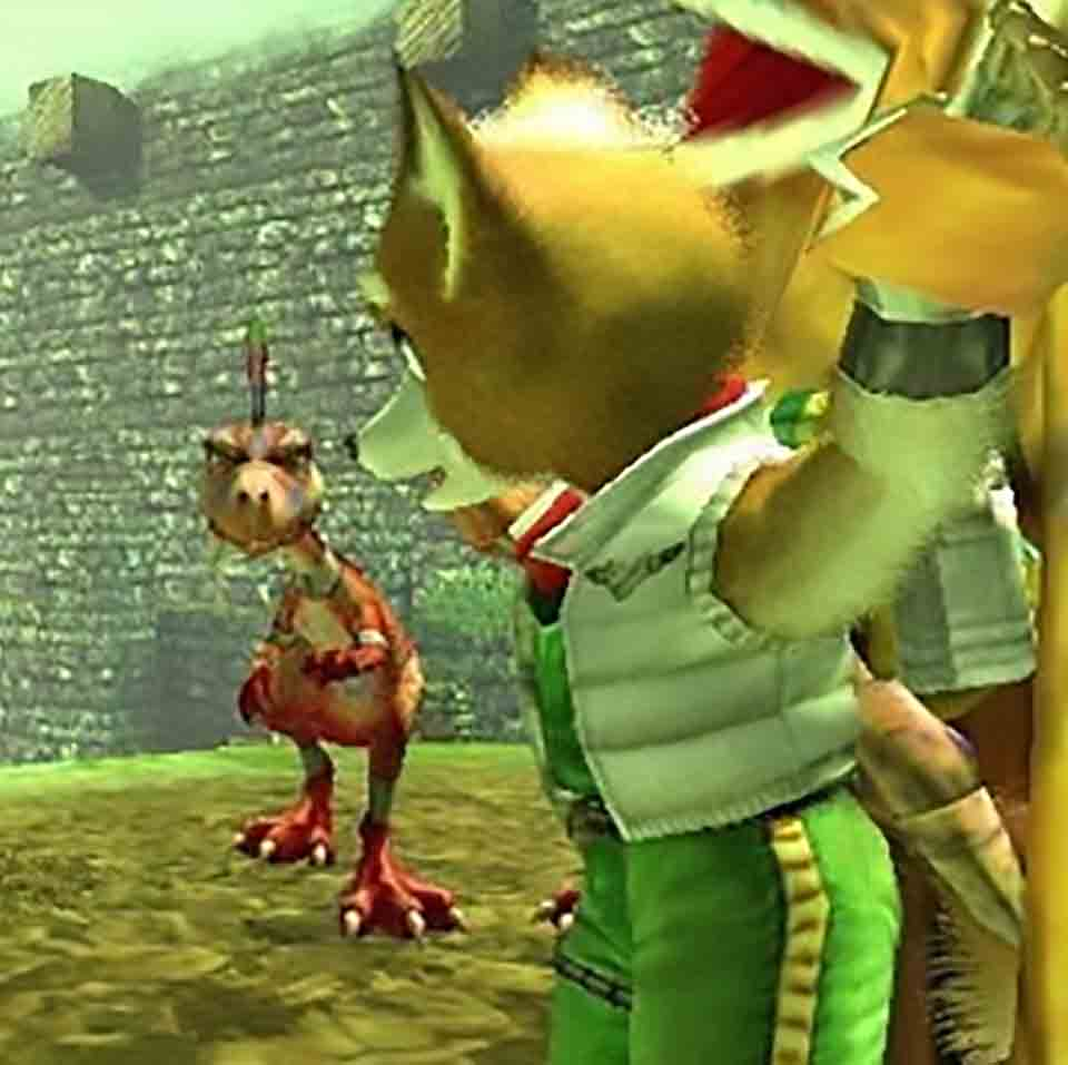 A captive Fox McCloud in Star Fox Adventures' LightFoot Village.