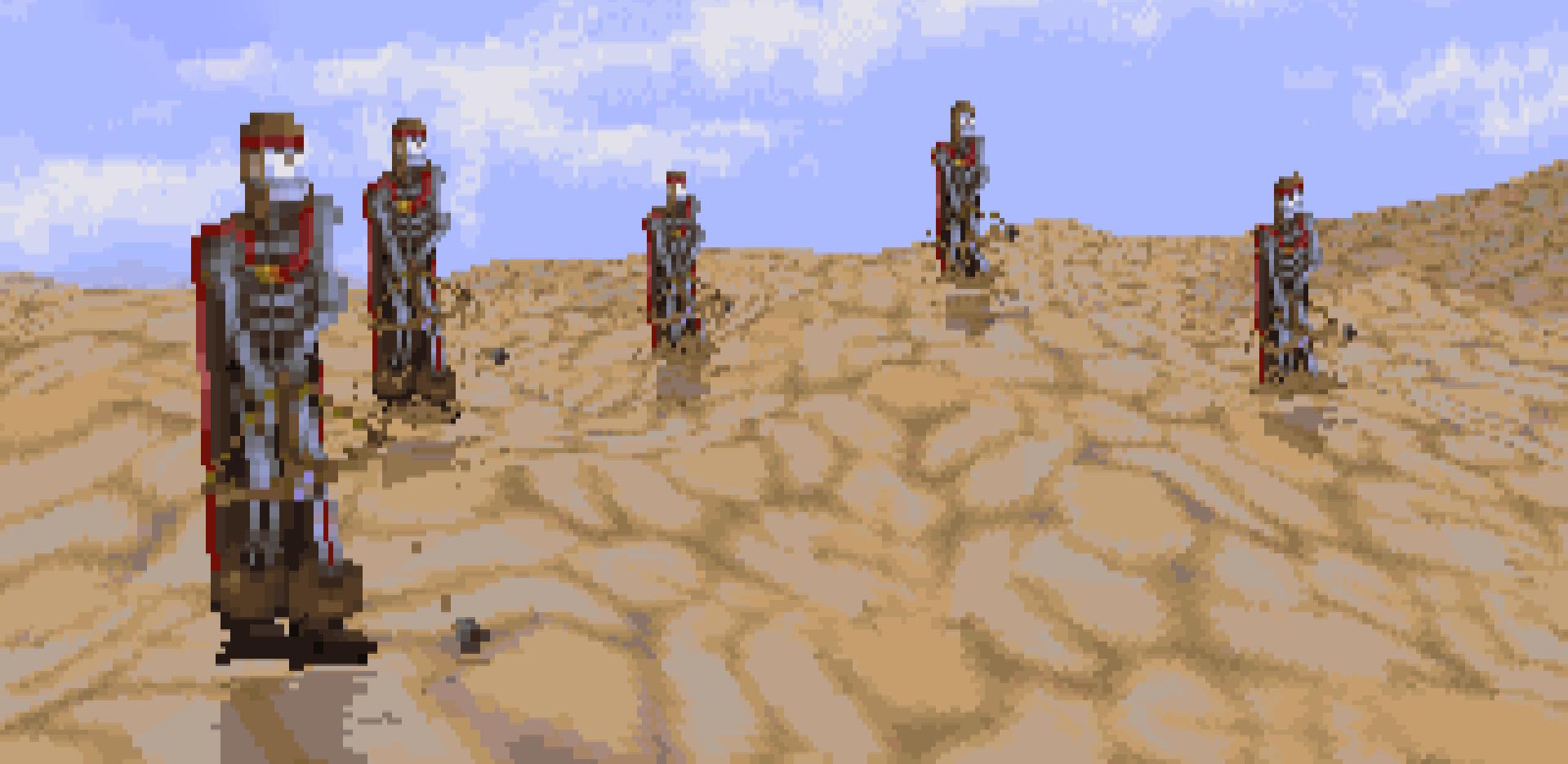 Magic Carpet's desert skeletons, looking ominous.