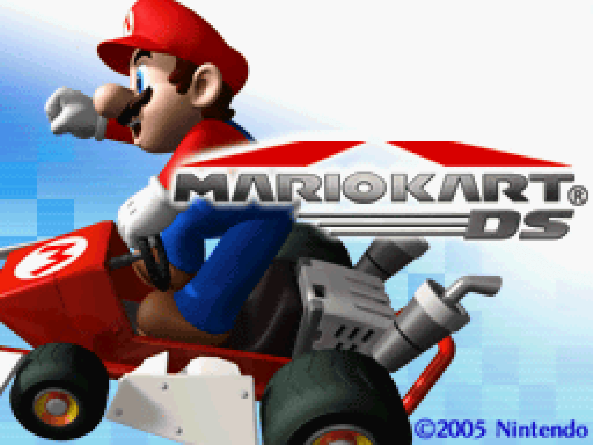 The title screen for Mario Kart DS.