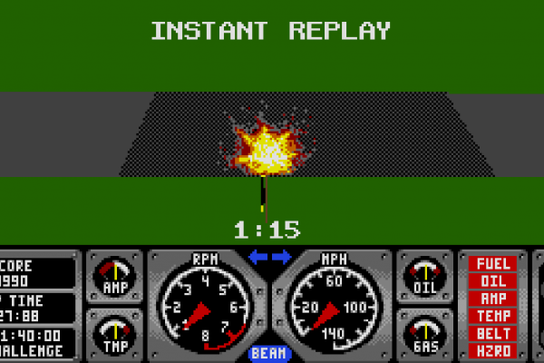 Hard Drivin' - Instant replay 4 - A burning wreck