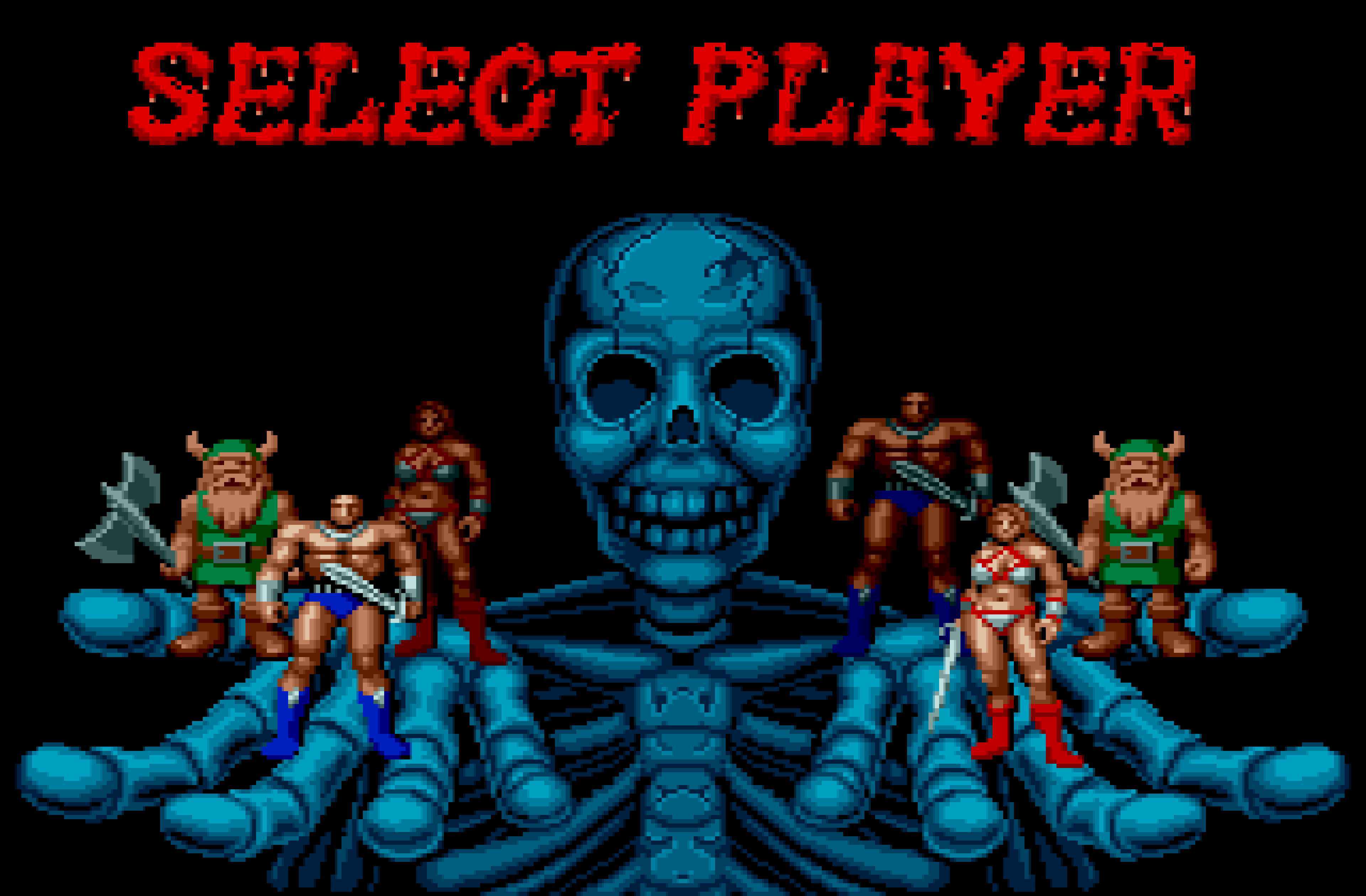 Selecting a character in Golden Axe.