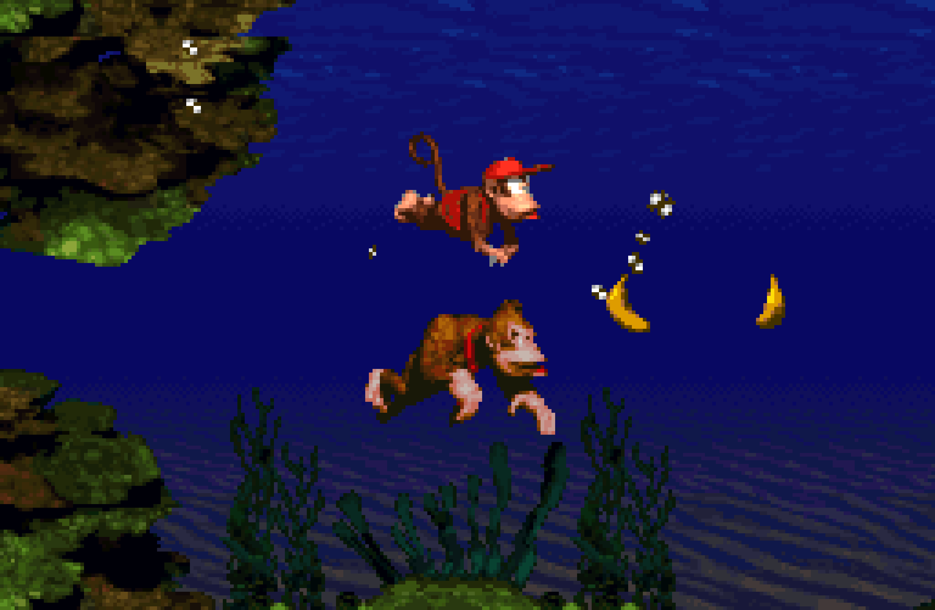 Underwater in Donkey Kong Country, which plays Aquatic Ambience.