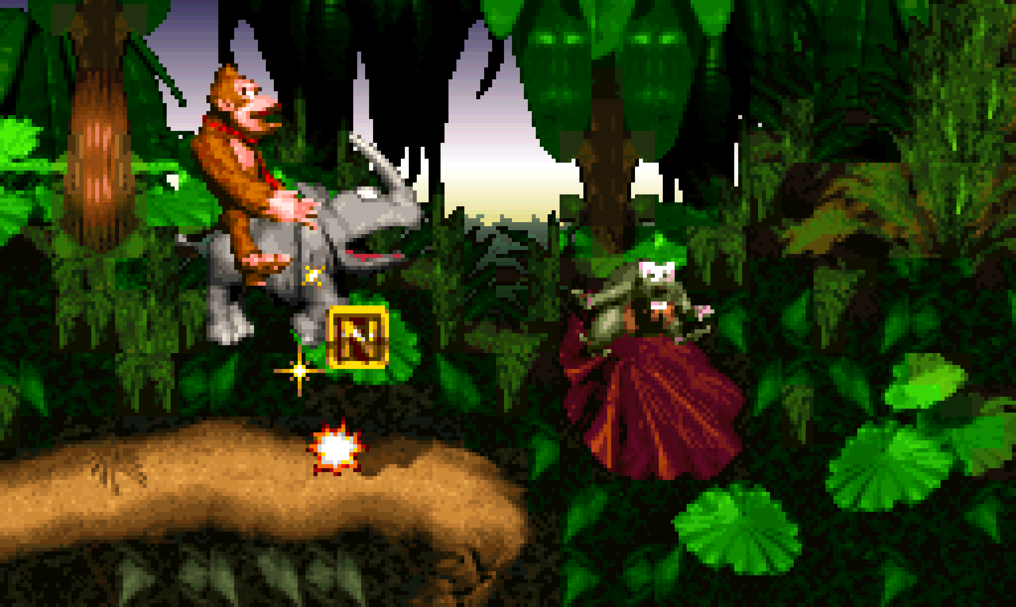 Kicking fuck out of a critter with the help of a rhino in Donkey Kong Country.