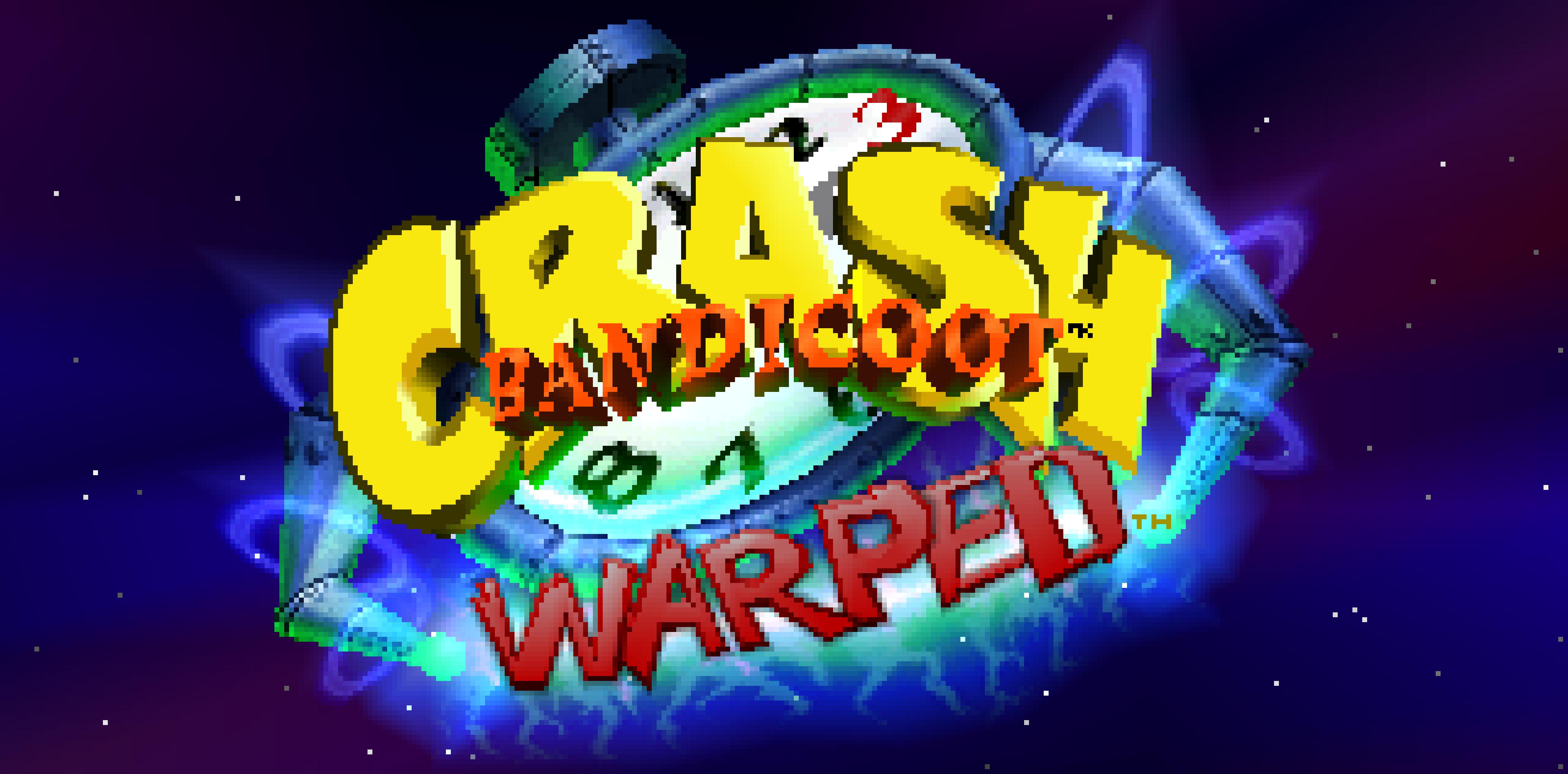 Crash Bandicoot: Warped's title screen.