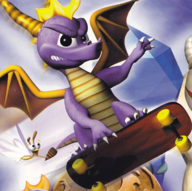 Spyro skateboarding on the cover of Year of the Dragon.