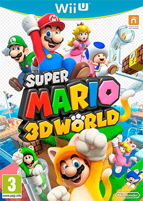 The cover art of Super Mario 3D World, which features Beep Block Skyway.