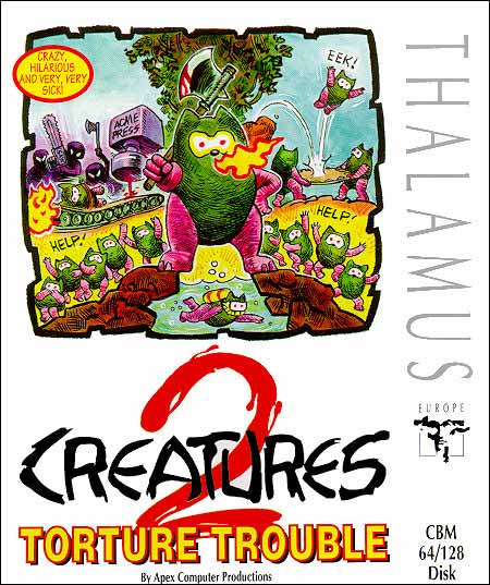 Front cover to the Commodore 64 game Creatures II