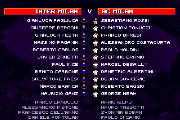 Sensible World of Soccer (European Championship Edition) - Milan derby line-up