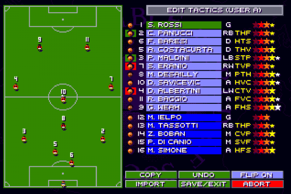 Sensible World of Soccer (European Championship Edition) - Tactics screen