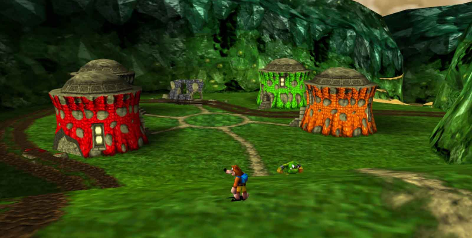 Banjo-Tooie's colourful flipping shacks. Lush, innit?