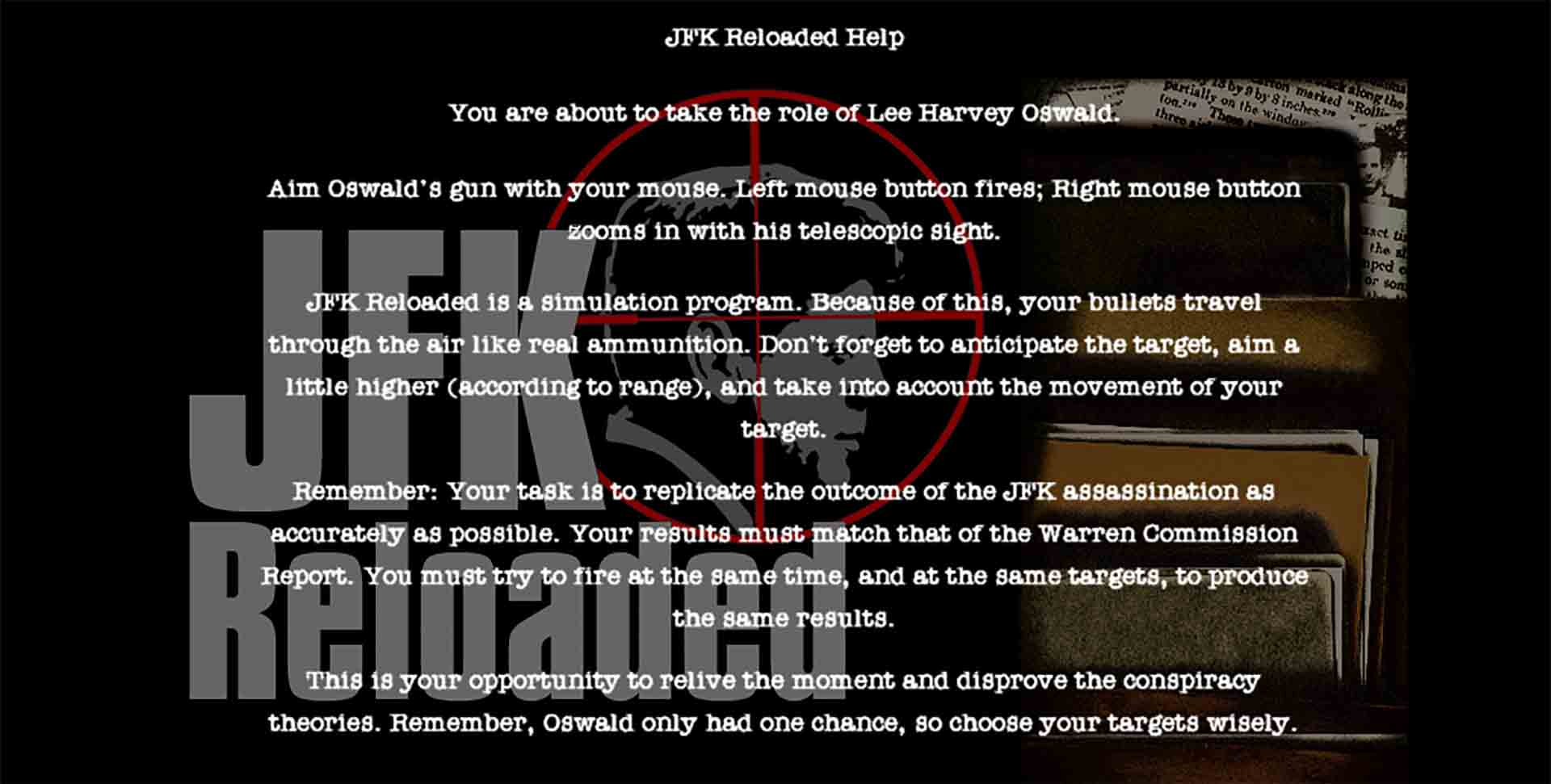 The key rules of JFK Reloaded.