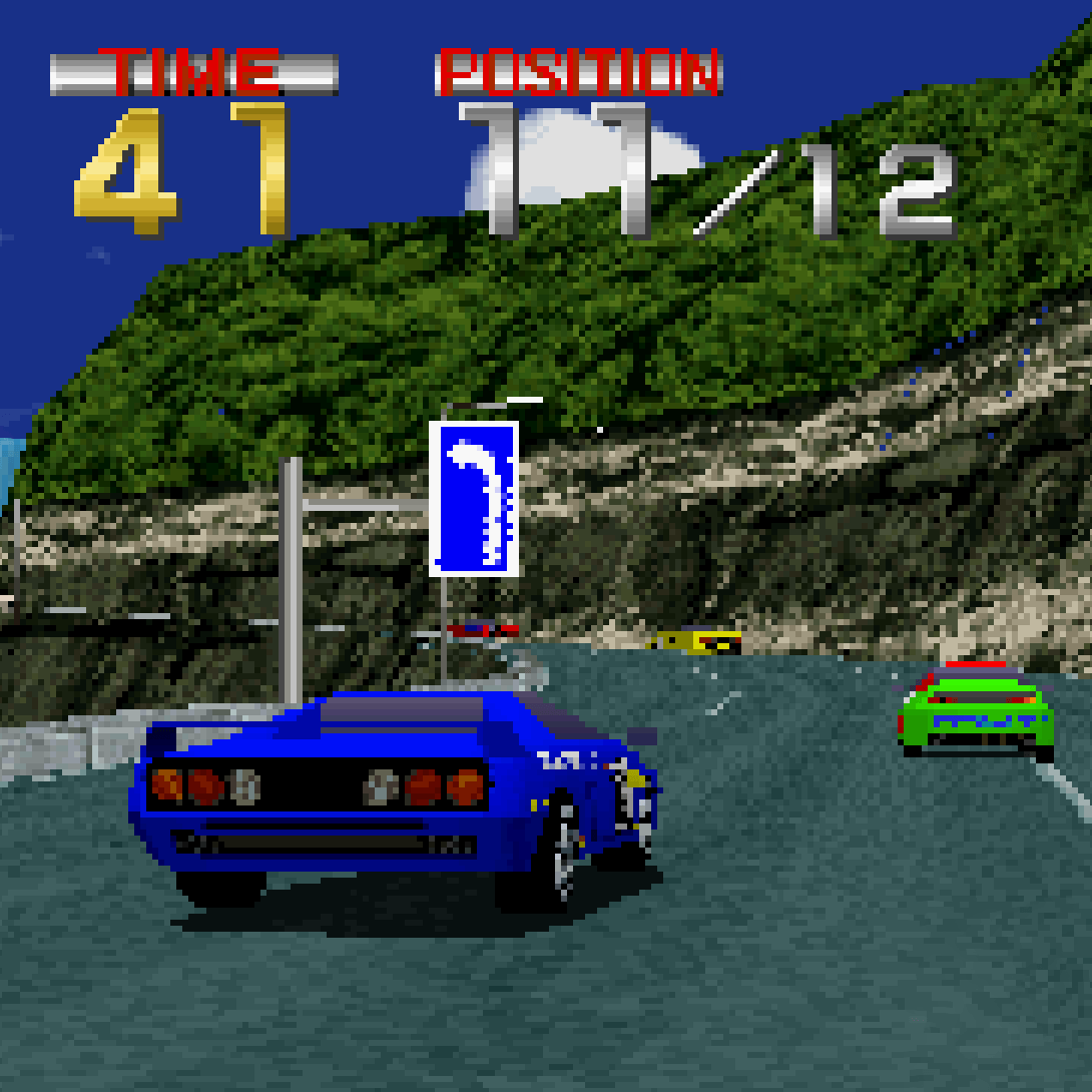Mid-race on Ridge Racer, Sony PlayStation, 1994