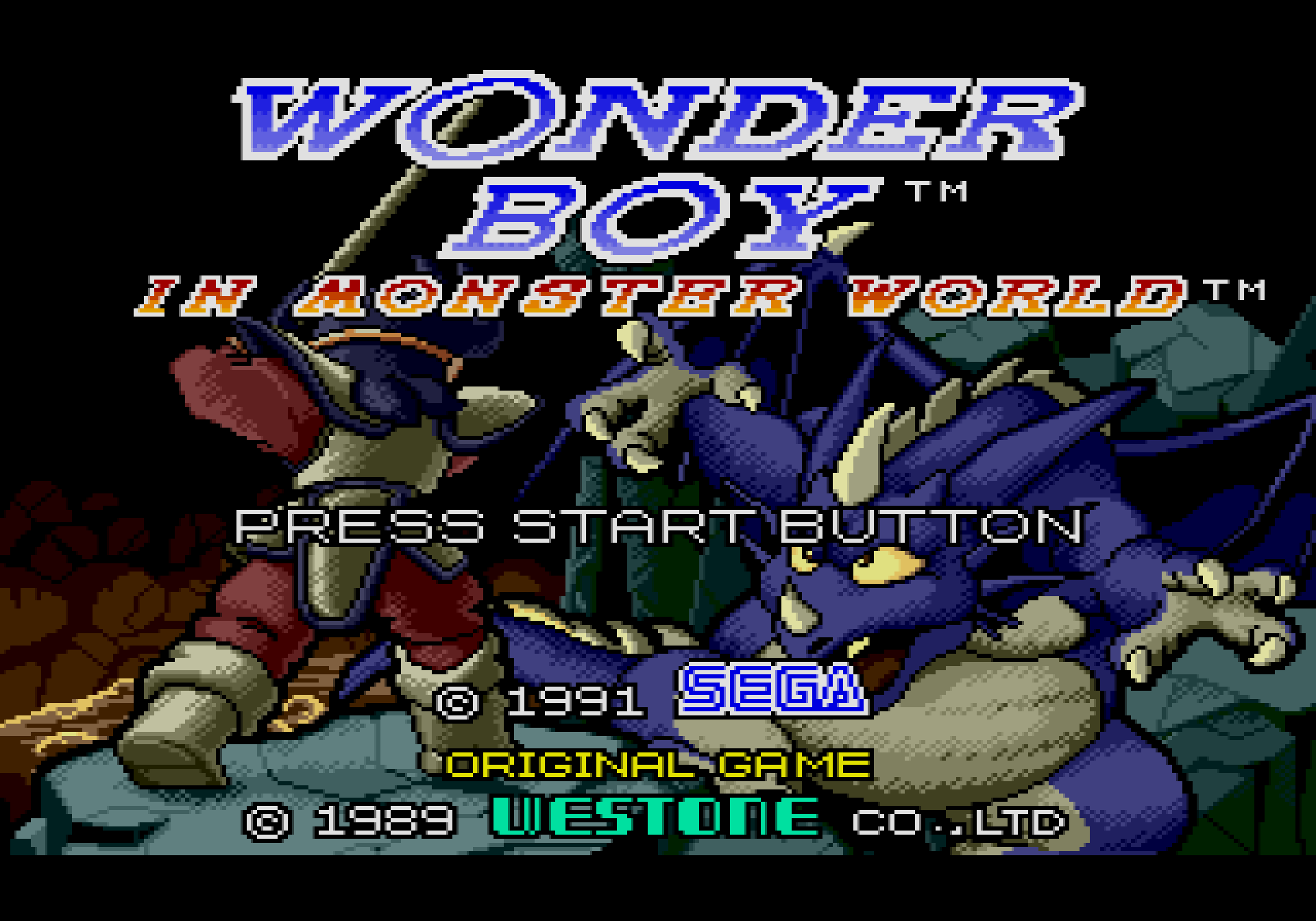 Wonder Boy in Monster World title screen