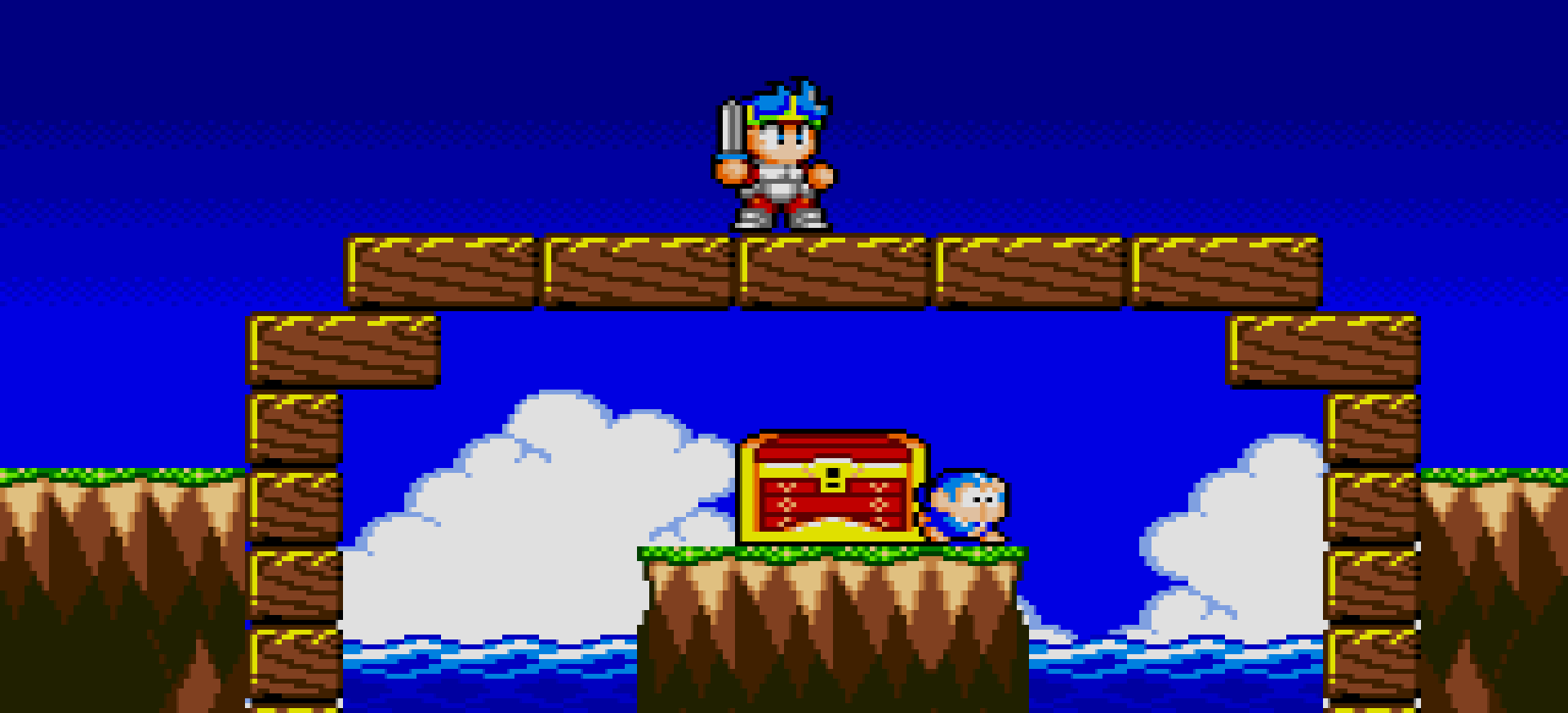 Wonder Boy in Monster World bridge over a bit old fucking box of treasure