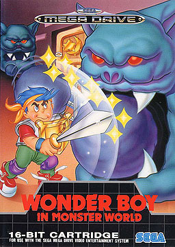 Cover art to the Mega Drive's Wonder Boy in Monster World