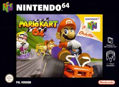 The cover of the PAL version of Mario Kart 64.