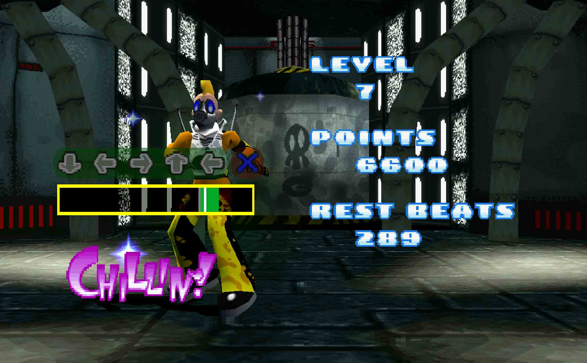 The illustrious level 7 combo during Chemical Love (Gas-O's stage) in Bust a Groove