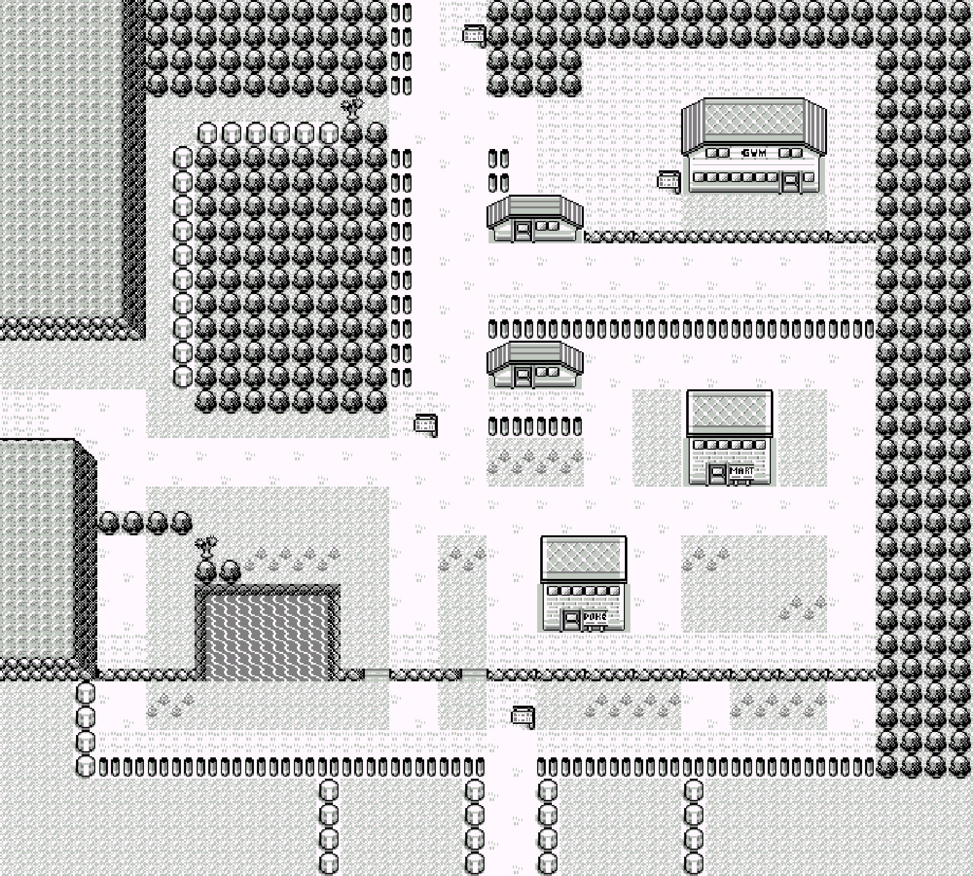 Viridian City as it appeared on the original Game Boy version of Pokémons Red and Blue.