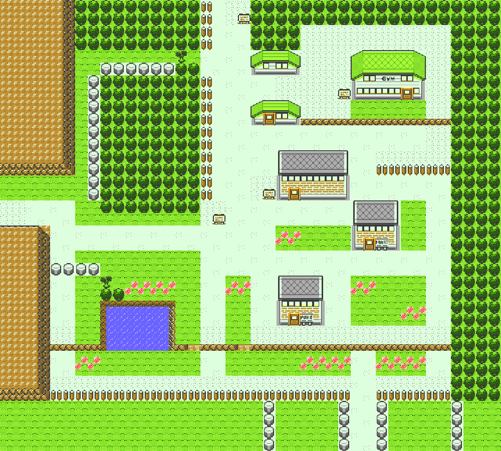 The full map of Viridian City, from Pokémons Red and Blue.