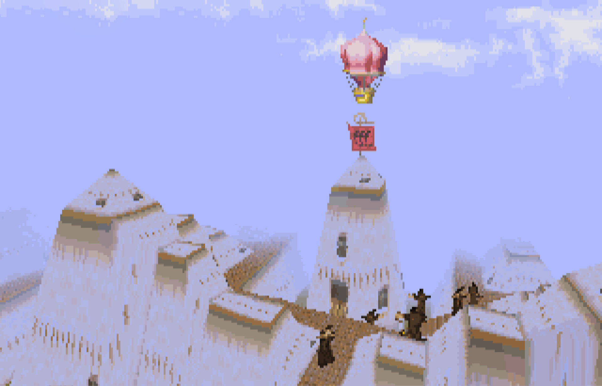 A balloon above an incredible structure in Magic Carpet, 1994, PC.