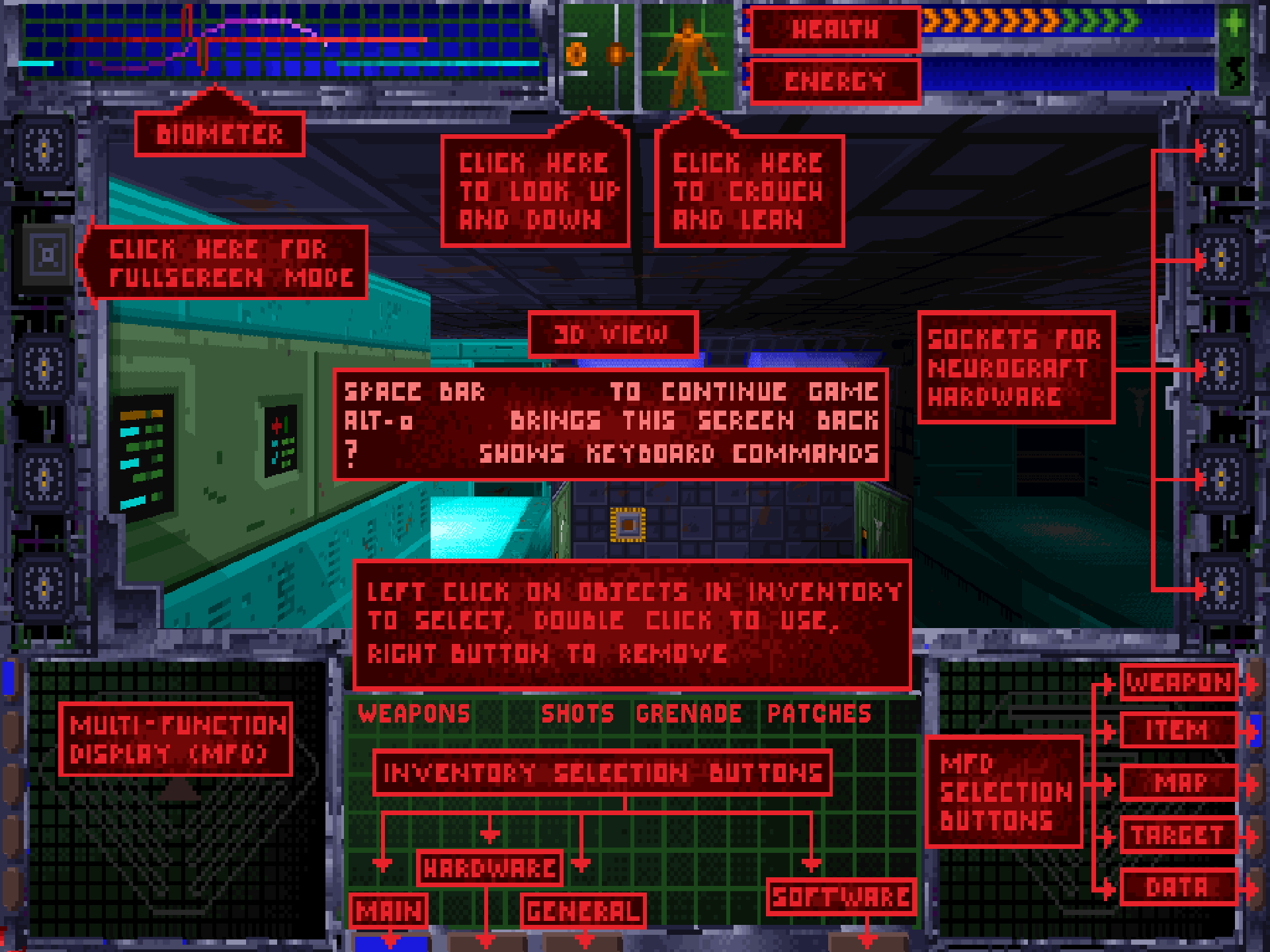 The insane MFD and UI from System Shock.