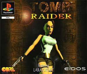 Cover art of Tomb Raider on the Sony PlayStation in Europe, featuring St Francis' Folly