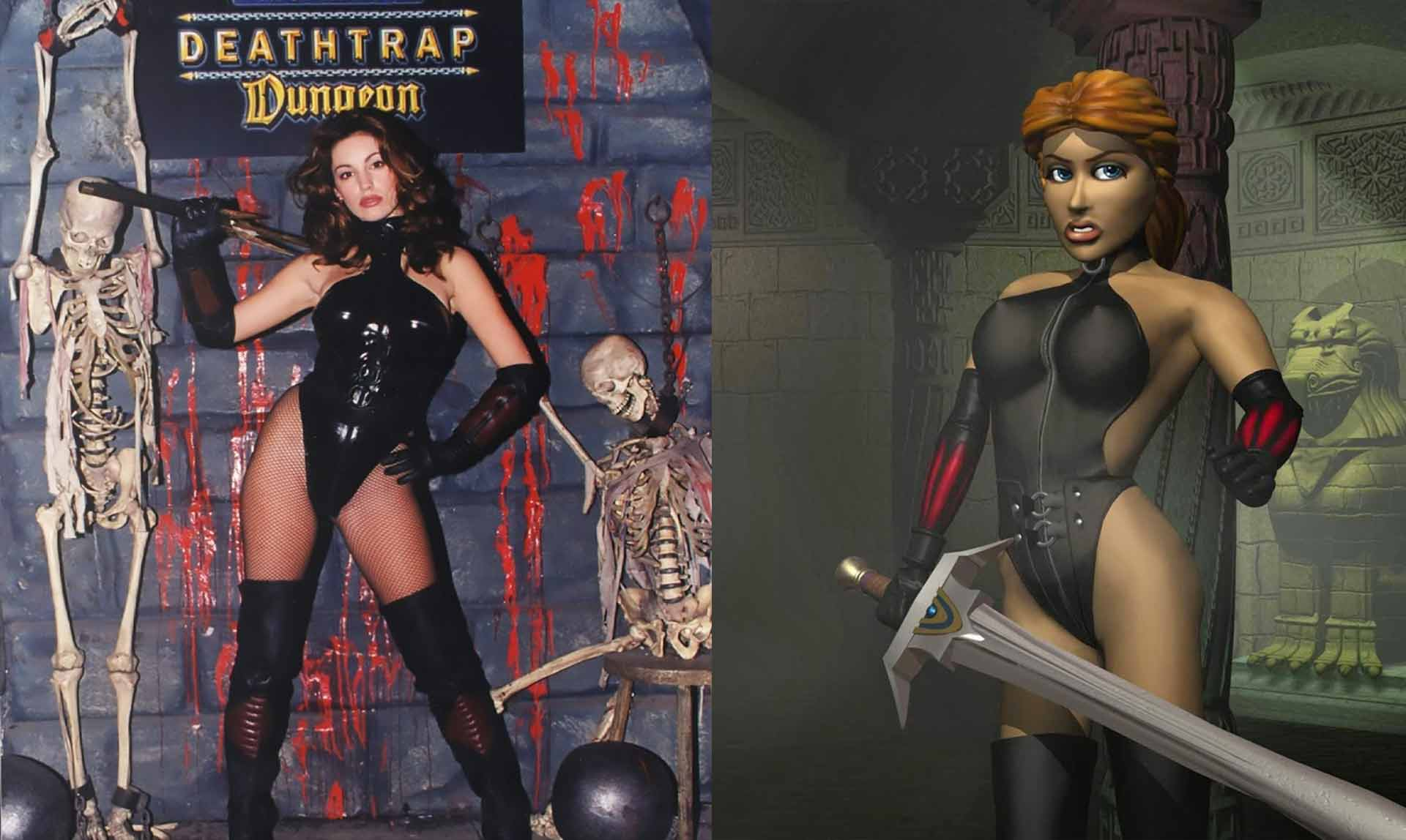 Kelly Brook promoting Deathtrap Dungeon back in 1998.