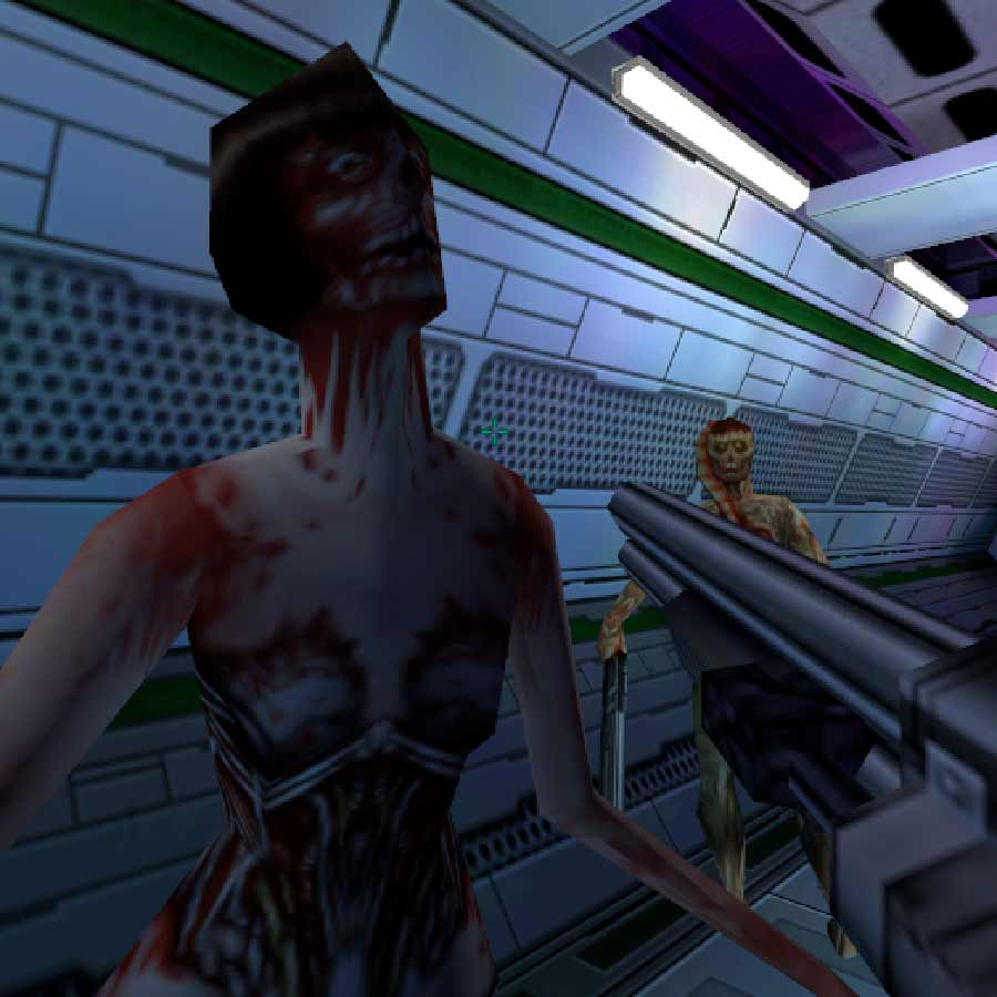 A Cybord Midwife and a Hybrid from System Shock 2.