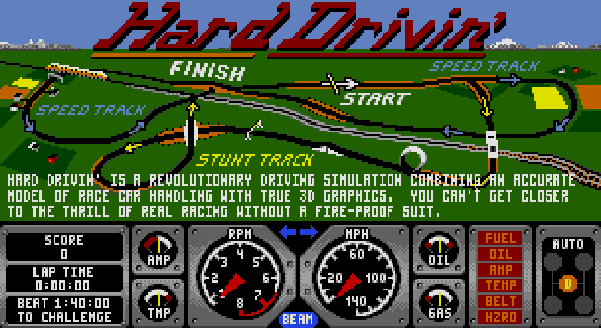 The intro screen to Hard Drivin'.