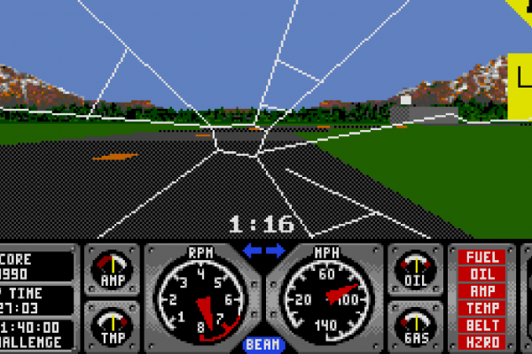 Hard Drivin' - Instant replay 1 - Cracked screen