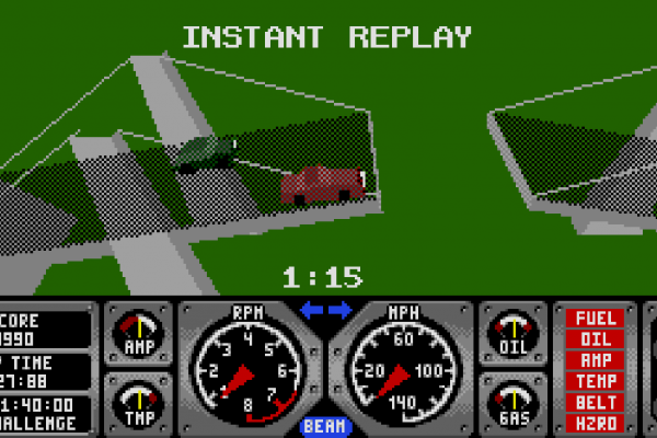 Hard Drivin' - Instant replay 2 - Attempting the jump