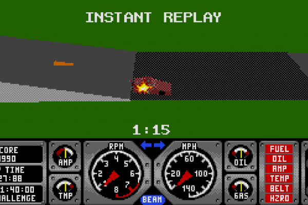 Hard Drivin' - Instant replay 3 - Failing the landing