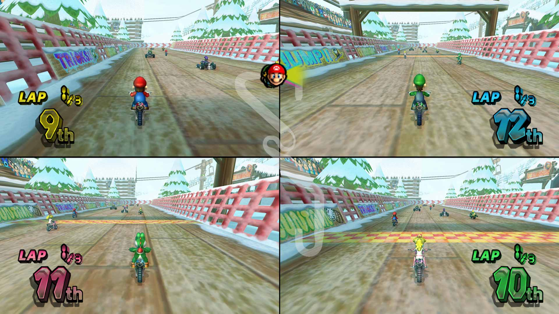 Four-player action in Mario Kart Wii.