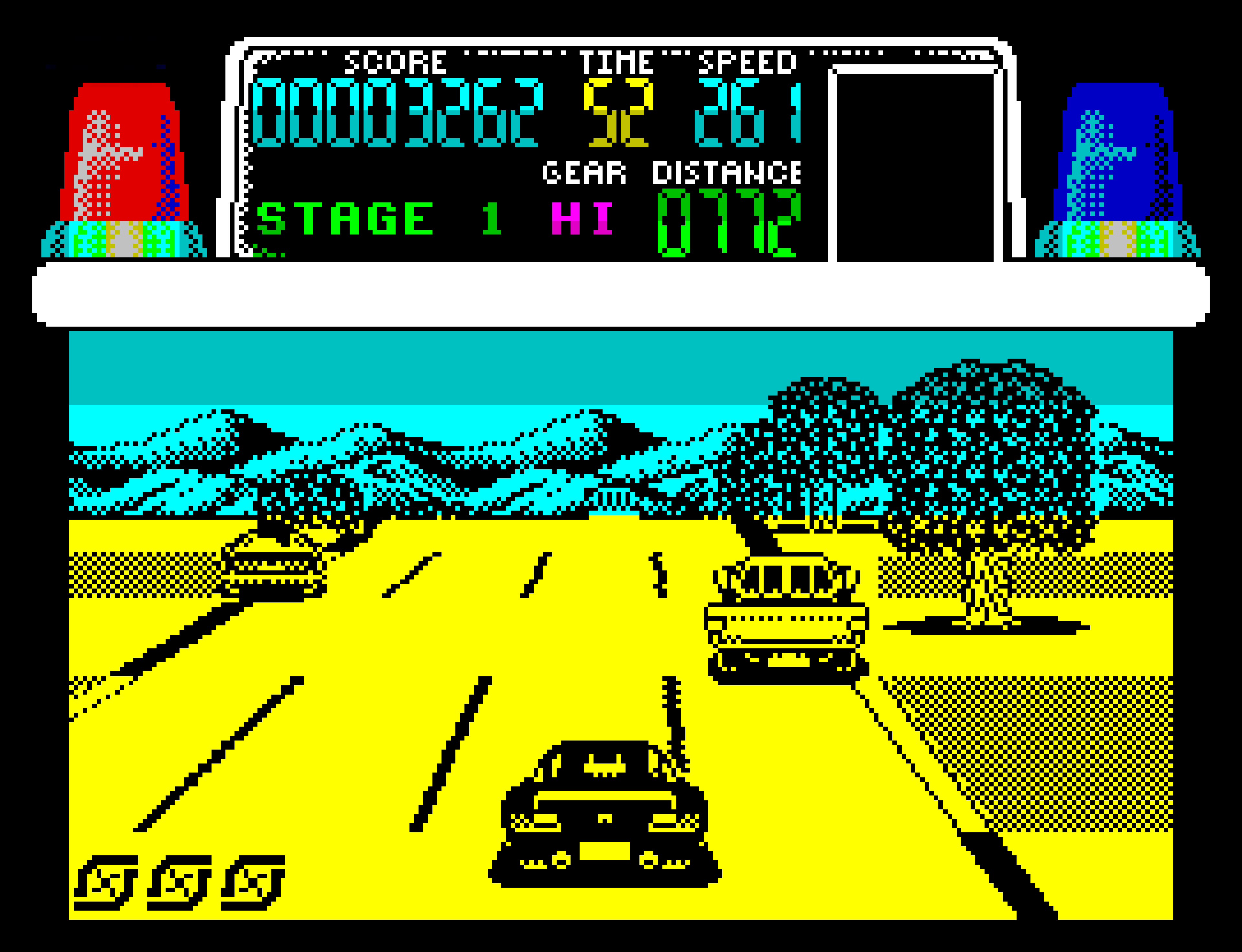 A screenshot of Chase HQ on the ZX Spectrum.