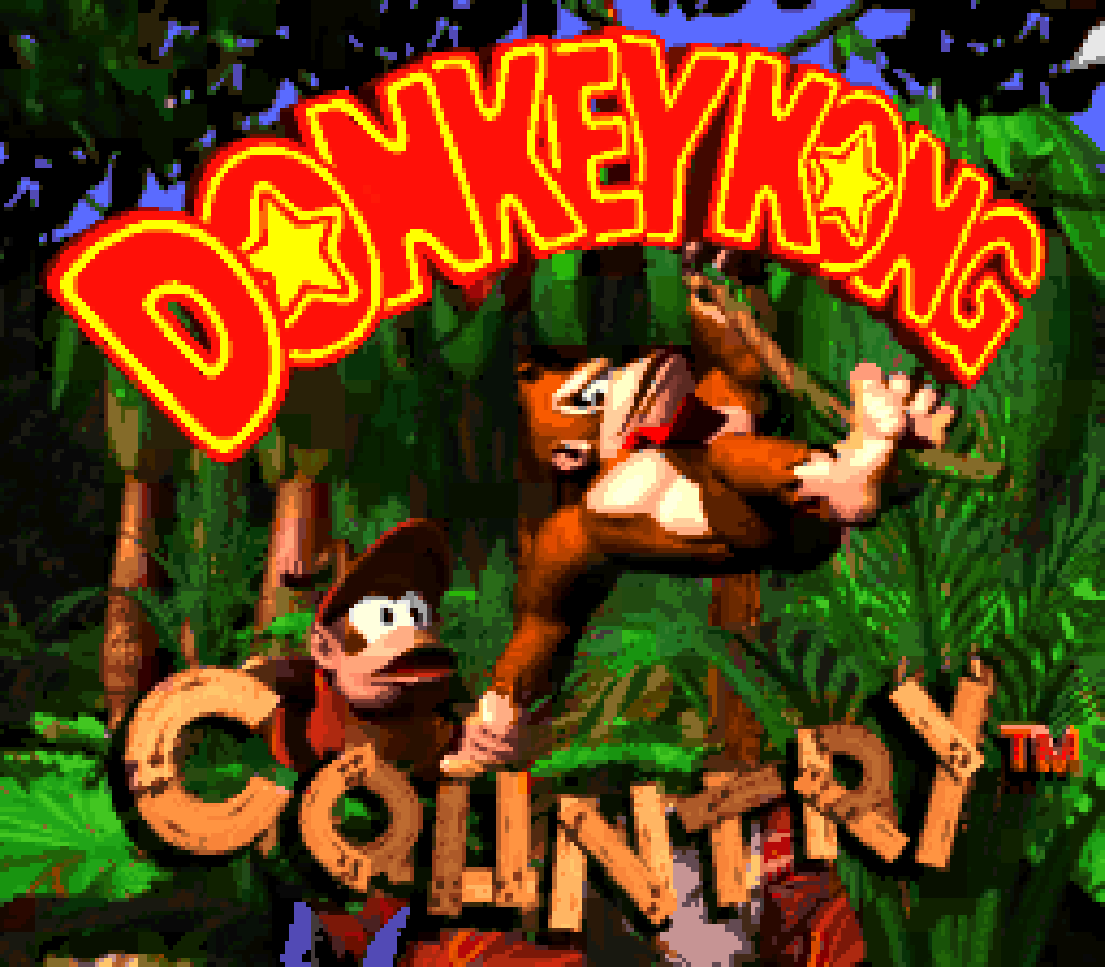The title screen of Donkey Kong Country.
