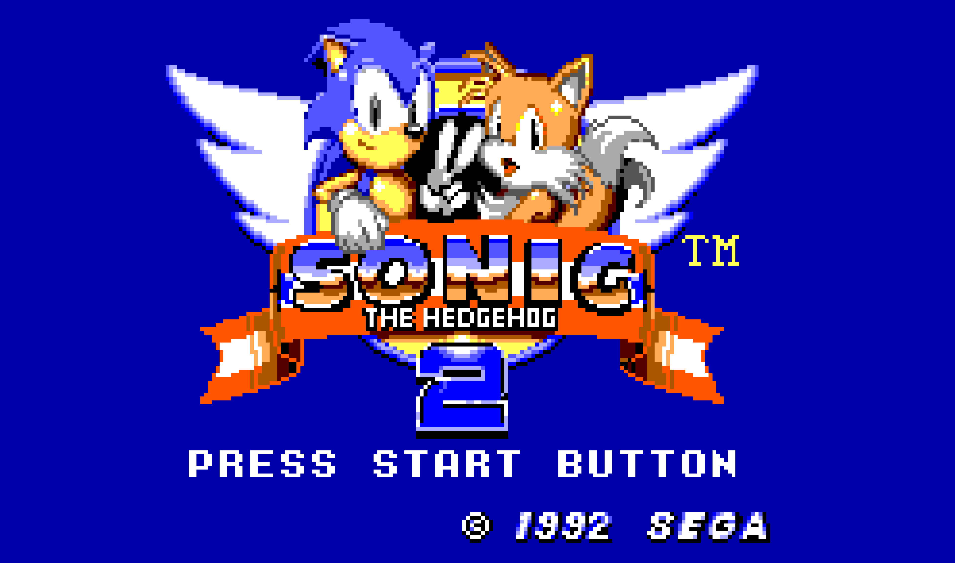 The title scren of Sonic the Hedgehog 2.