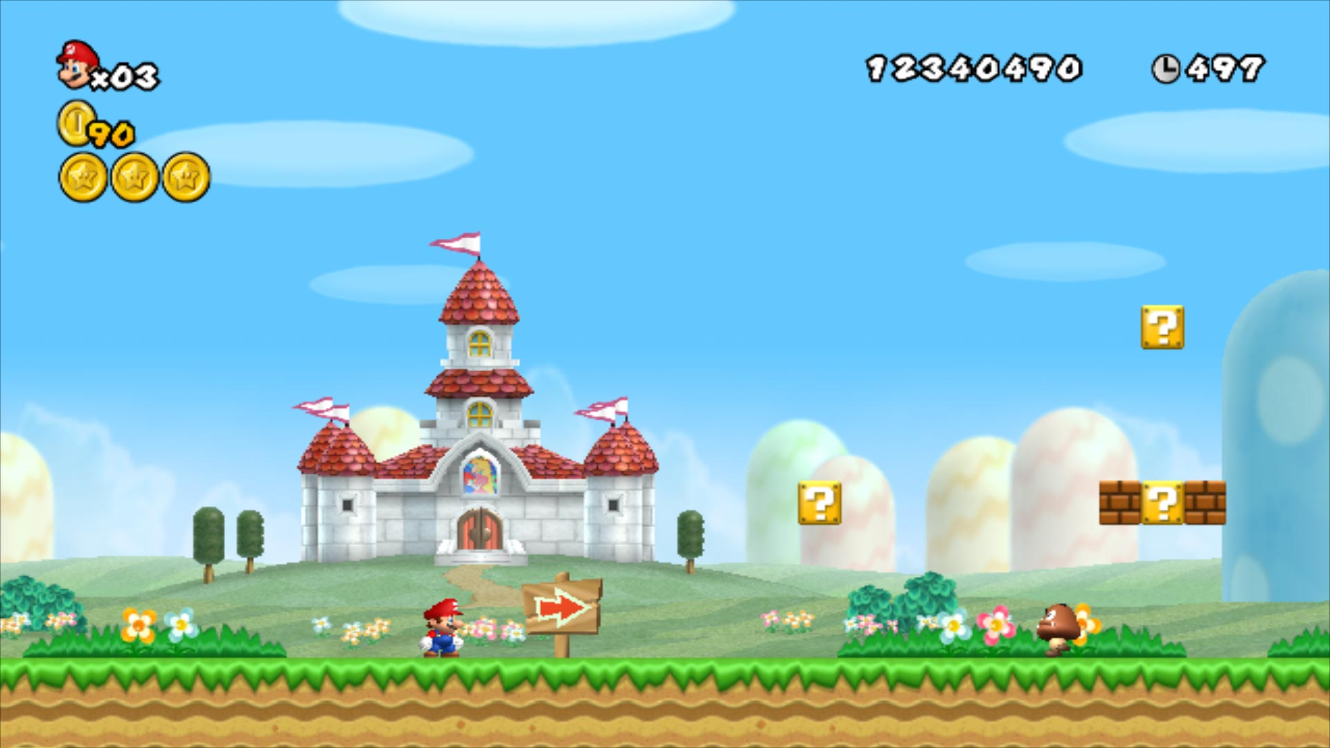 The first level of New Super Mario Bros Wii.