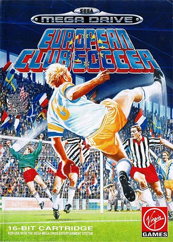 The front cover for European Club Soccer on the Mega Drive.