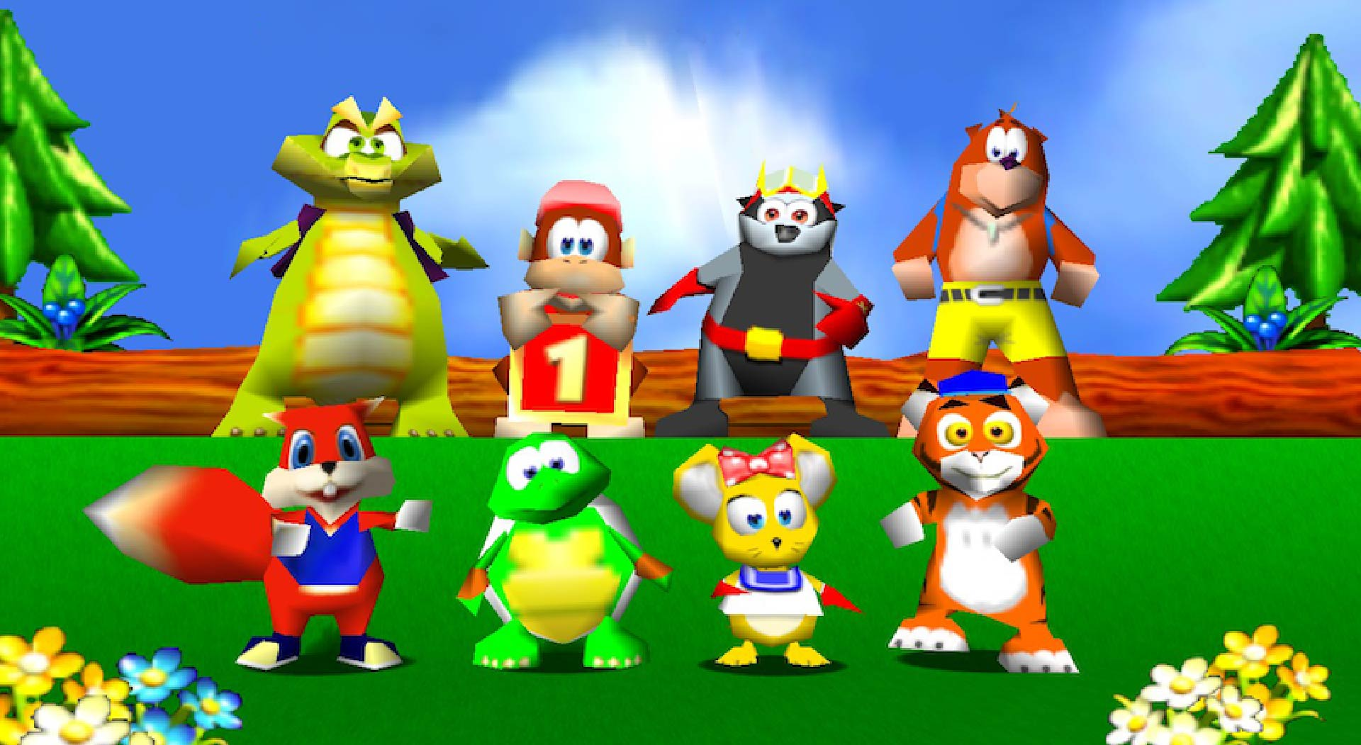 The various racers of Diddy Kong Racing.