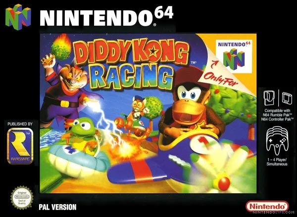 The cover art of Diddy Kong Racing.