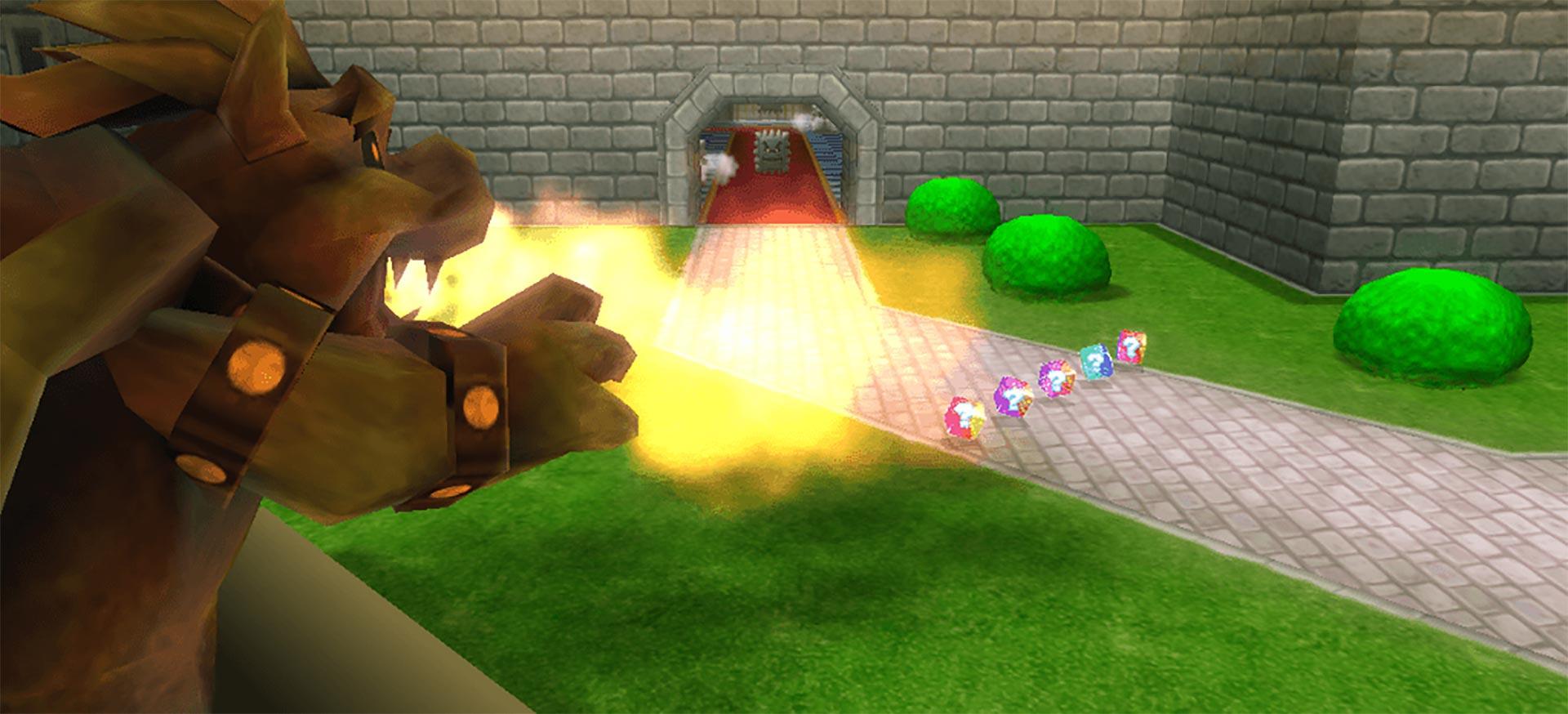 Mario Kart 64's Bowser's Castle.