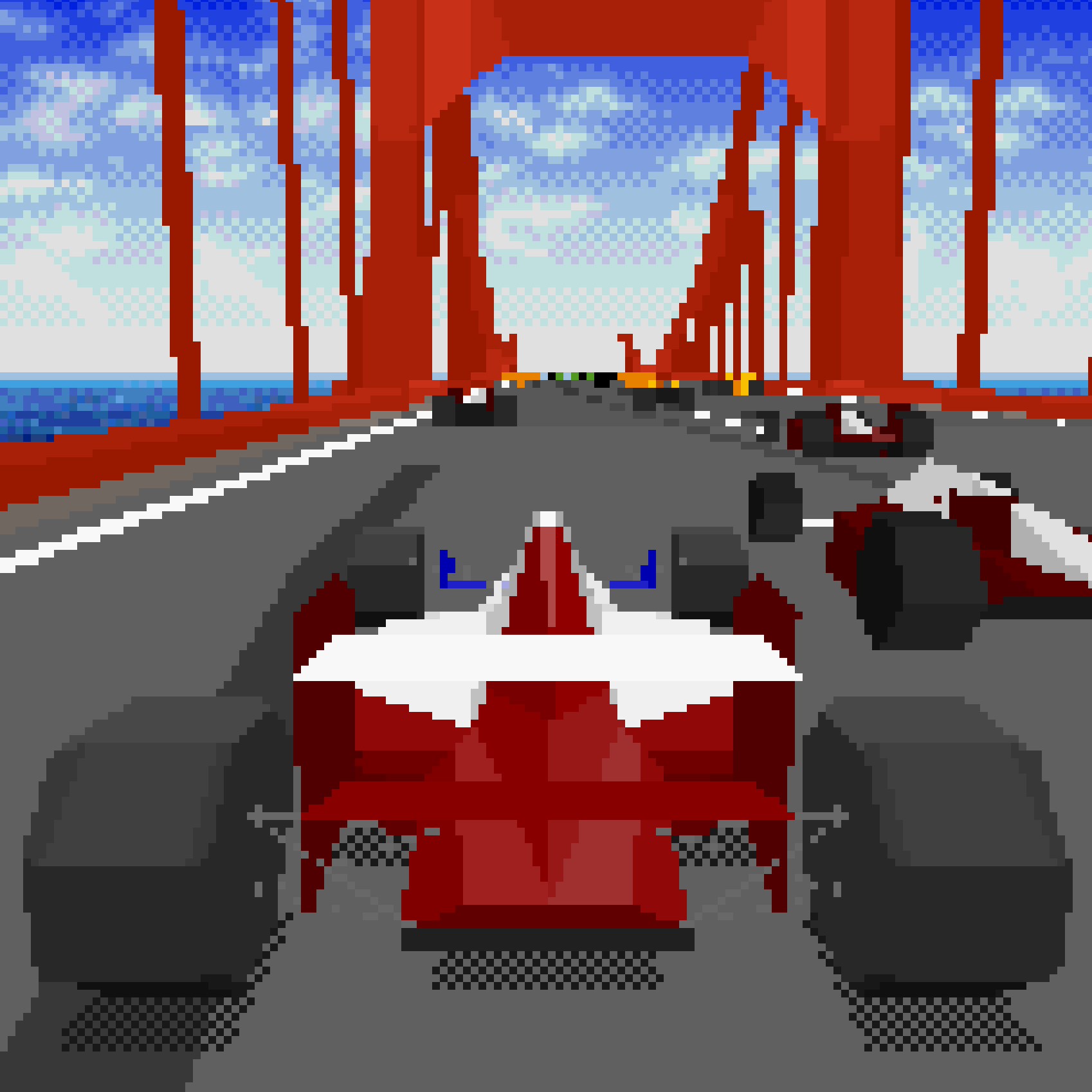 Racing the Prototype in Virtua Racing.