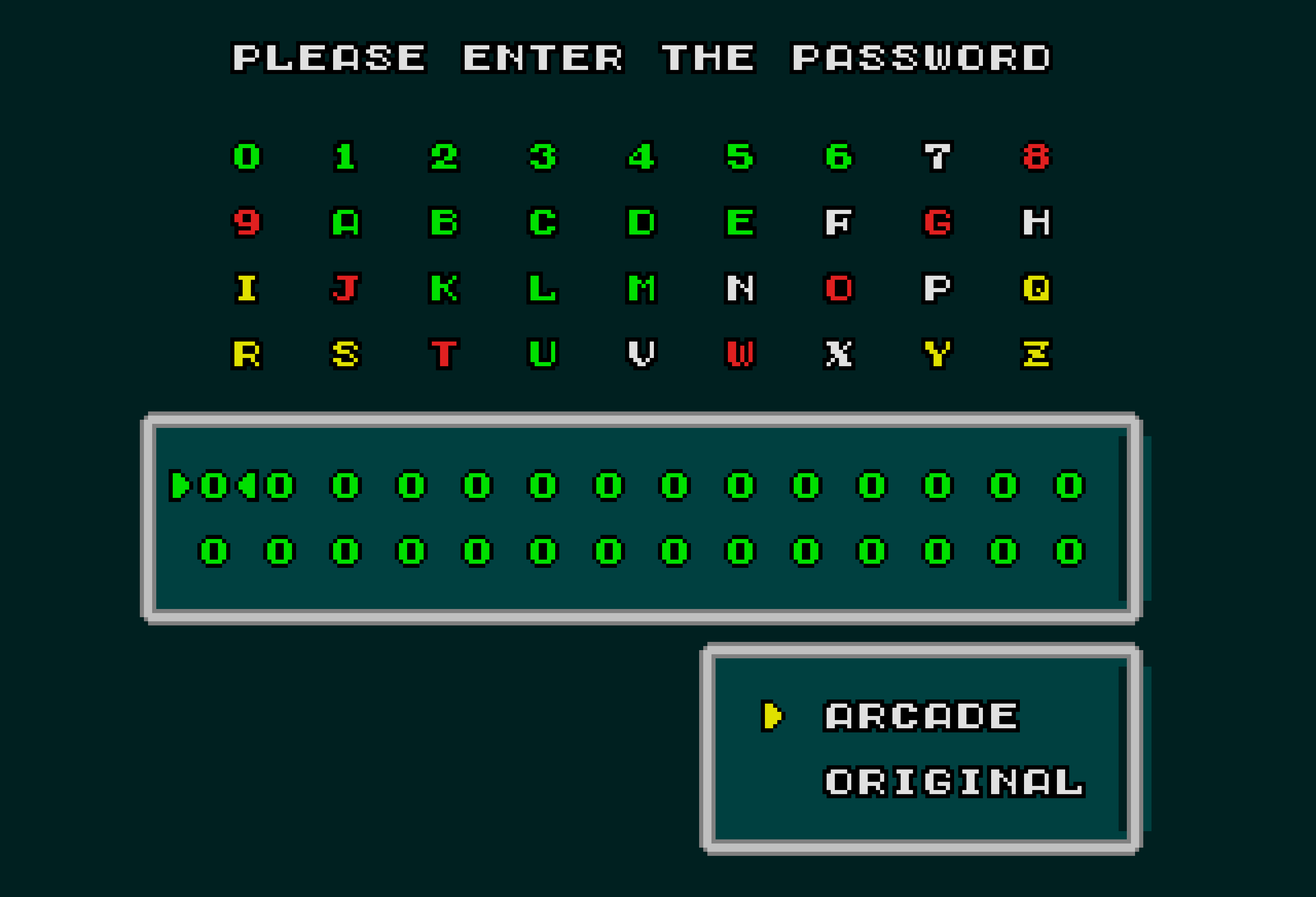 Super Hang-On password entry