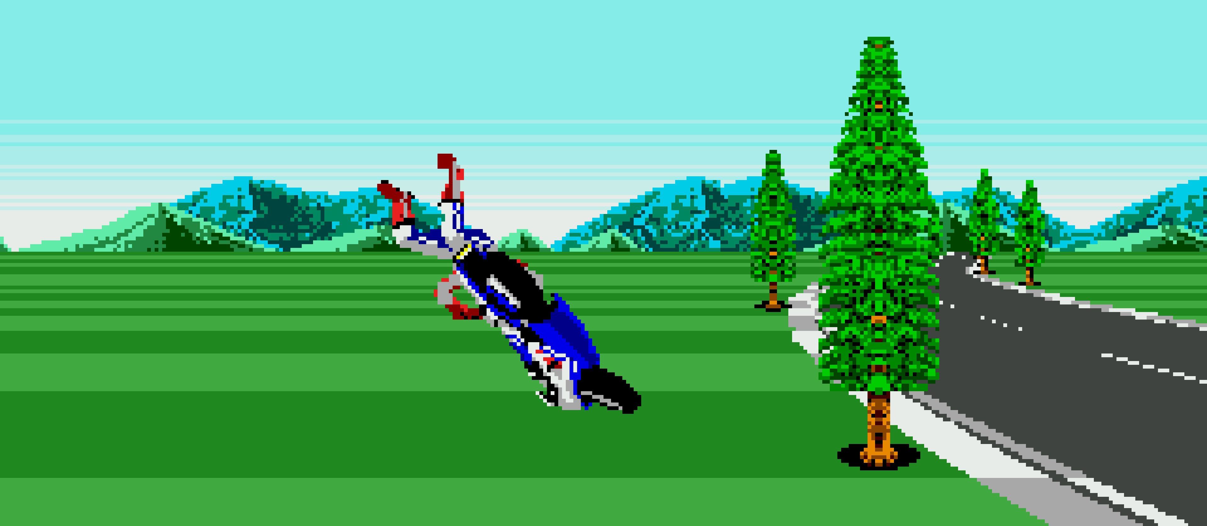 A bike crash in Super Hang-On.