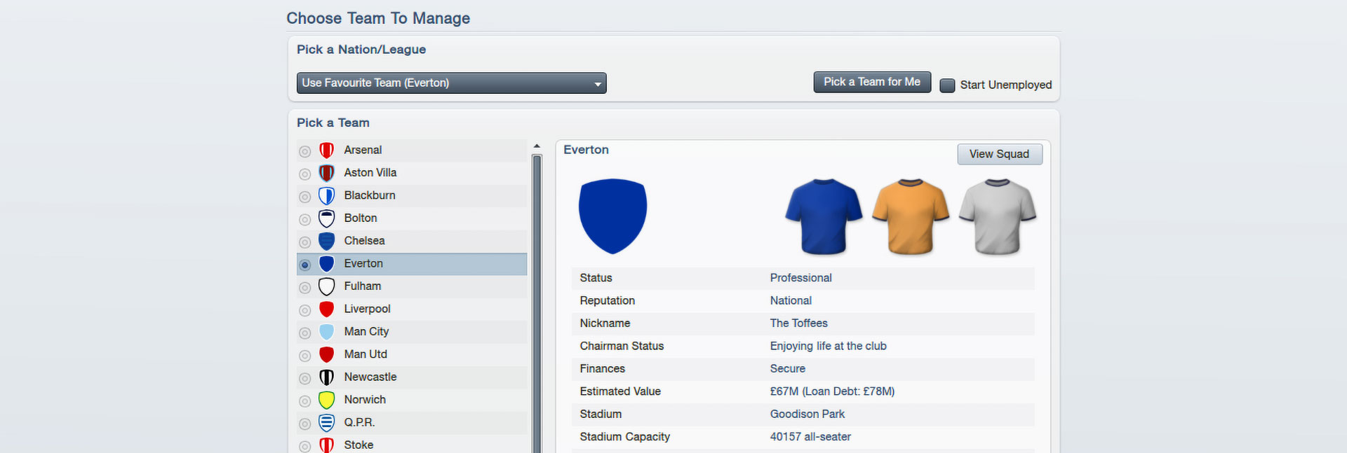 Everton in Football Manager 2012