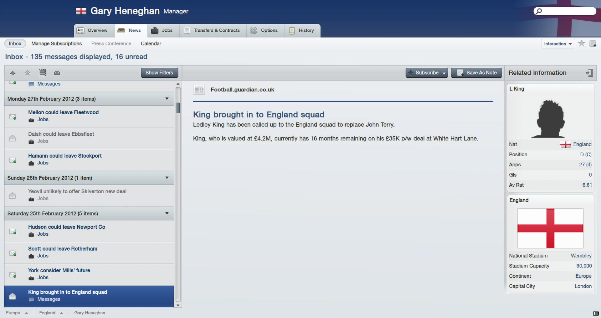 England managing in Football Manager 2012