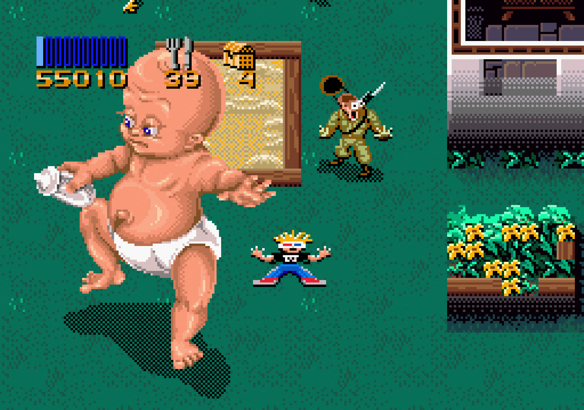 The giant baby in Zombies Ate My Neighbors