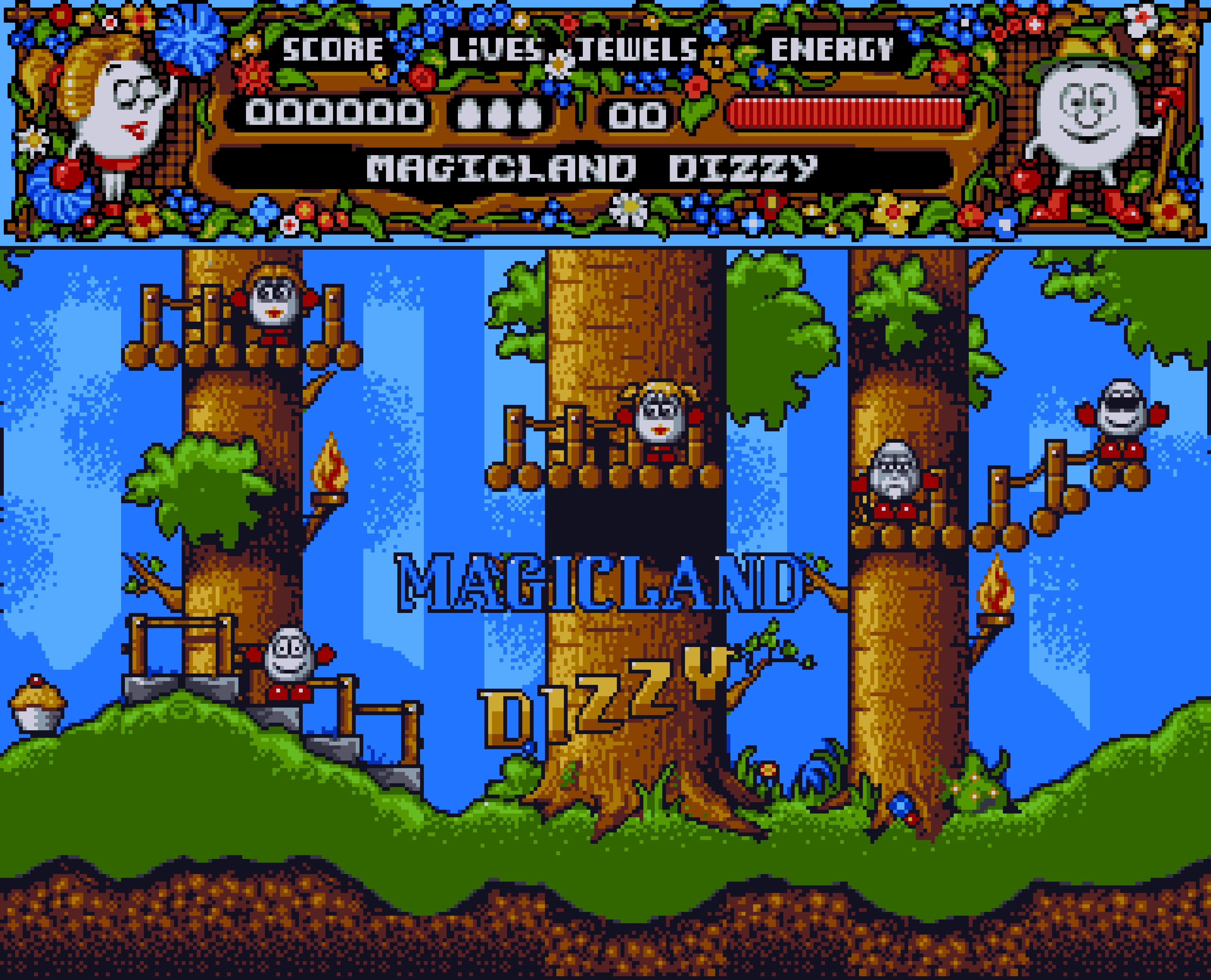 Magicland Dizzy title screen on the Amiga