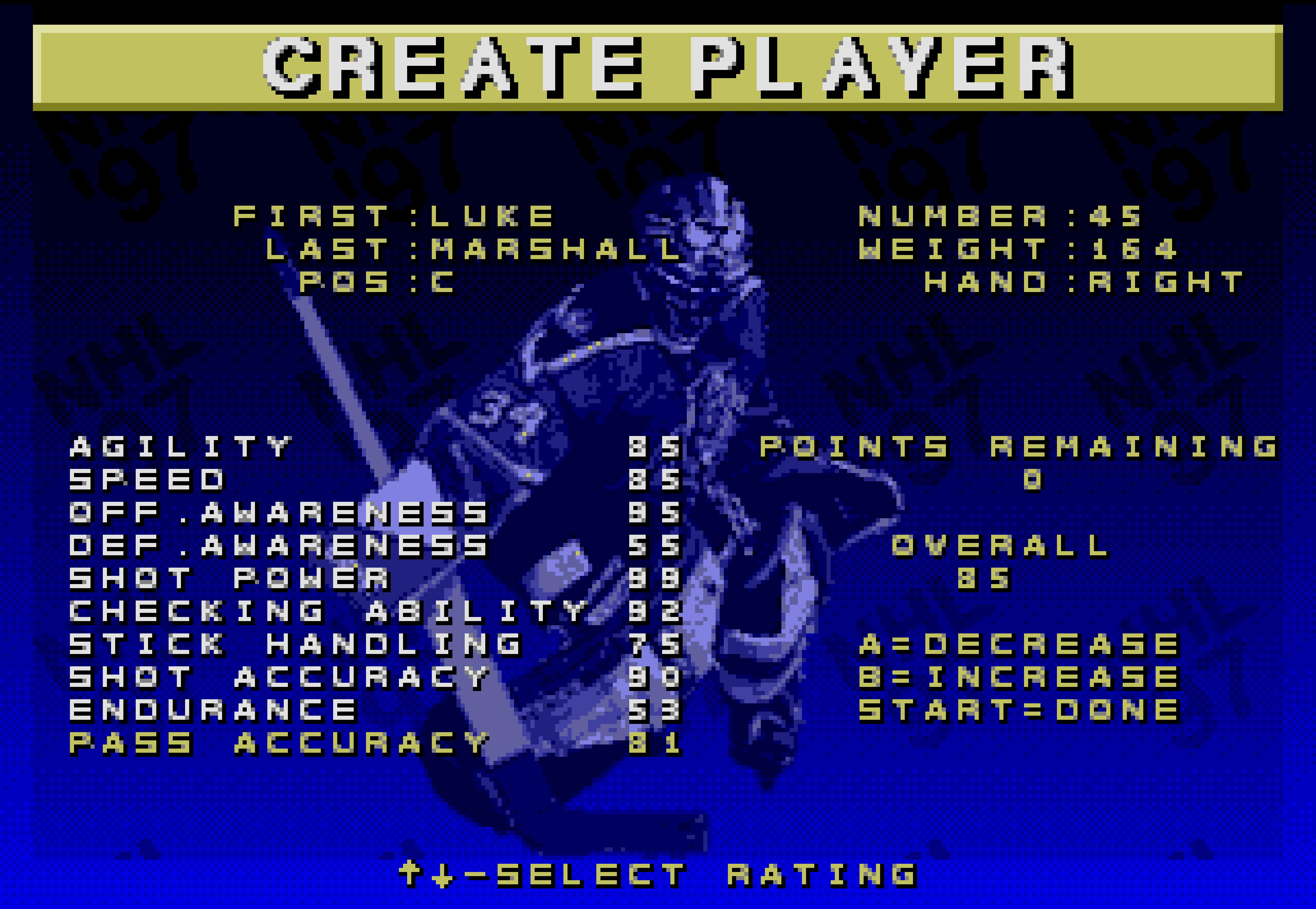 Luke Marshall in NHL 97